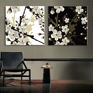 e-Home® uitgerekt geleid canvas kunst de pruimenbloesem flash effect LED set van 2