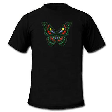LED Tişörtler Ses ile aktifleştirilen LED Işıklar Tekstil Şık 2 AAA Pil