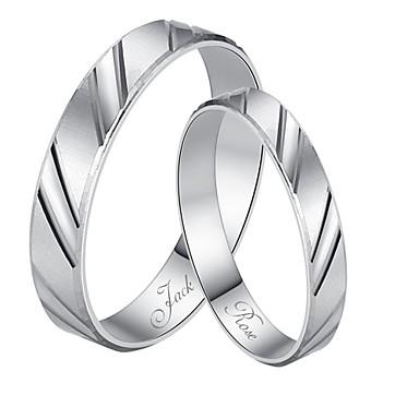 personalisiertes Geschenk, einfach 925 Sterling Silber Ringe Paare