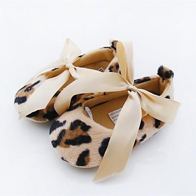 Mädchen Schuhe Vlies Frühling Sommer Flache Schuhe Schleife für Normal Draussen Kleid Leopard