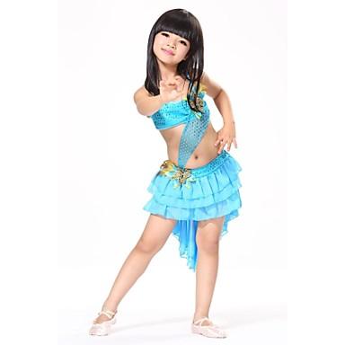 Latin tánc Felszerelések Gyermek Edzés Teljesítmény Sifon Flitteres Toll Flitter Toll / szőrme Minta Ujjatlan Természetes