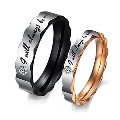 Női Páros gyűrűk - Titanium Acél Születési kövek 5 / 6 / 7 Arany / fehér Kompatibilitás Esküvő / Parti / Napi / Cirkonium