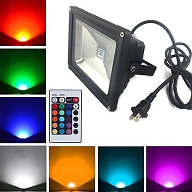billige Utendørsbelysning-LED-lyskastere 1900 lm 1 LED perler Høyeffekts-LED Fjernstyrt RGB 85-265 V