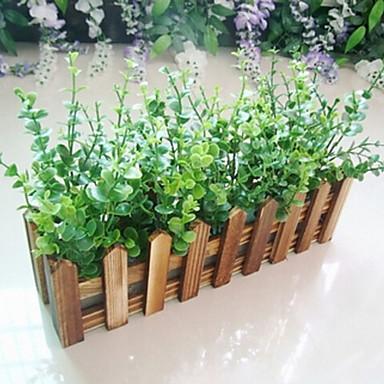 Eucalyptus Leaf + 30cm Charcoal Fence with Fake Silk Flowers ,Plastic