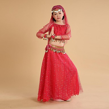 Belly Dance Outfits Training / Performance Polyester / Chiffon Coin / Tassel 3/4 Length Sleeve Natural