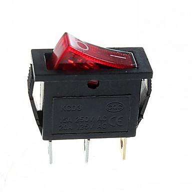 3-pin-plugg 2-trinns vippebryter med lys (15a / 250v 20a / 125V ac) - (5stk.)