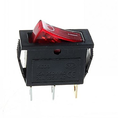 3-pin βύσμα 2-βήμα διακόπτη με φως (15α / 250V 20α / 125V AC) - (5pcs)