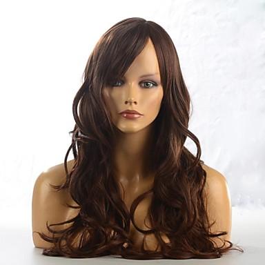 Συνθετικές Περούκες Σγουρά Κούρεμα με φιλάρισμα Καταρράκτης Καφέ Γυναικεία Πλήρης Δαντέλα Μακρύ Μακρύ Συνθετικά μαλλιά Καθημερινά