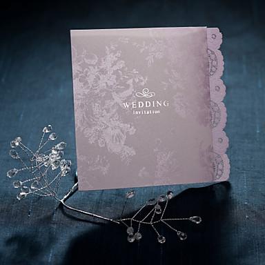 Katlanmış Düğün Davetiyeleri Davet Kartları Eski Tip Tarz / Çiçek Tarzı İnci Kağıdı 12*14.5 cm