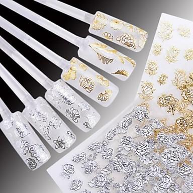 24 pcs Blomst / Bryllup / Mote Vannoverføringsklistre / 3D Nail Stickers Daglig / Plast
