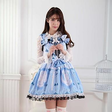 Badpak/Jurken Schattig Prinses Cosplay Lolita Jurken Blauw Kant Mouwloos Gemiddelde Lengte Kleding Voor Dames Polyester
