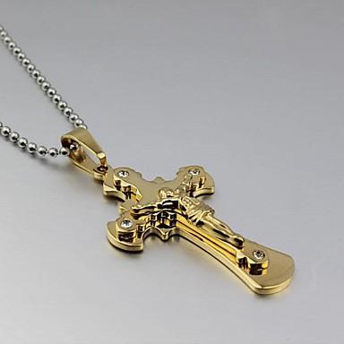 Férfi Nyaklánc medálok Strassz Titanium Acél Arannyal bevont Nyaklánc medálok Esküvő Parti Napi Hétköznapi Jelmez ékszerek