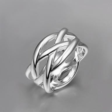 Naisten Sormus - Sterling-hopea, Hopeanvärinen Suuri Hopea / Ruudun väri Käyttötarkoitus Päivittäin