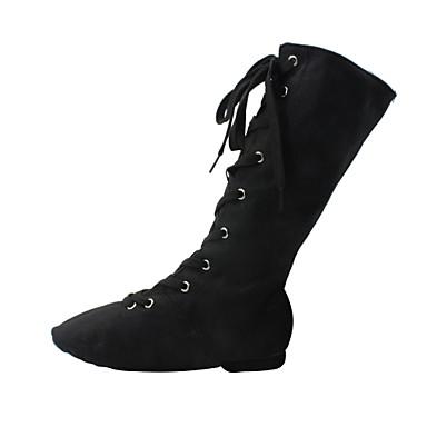 povoljno Dječje cipele za ples-Žene Platno Cipele za jazz dance / Standardni Vezanje Čizme / Potplat u dva dijela Ravna potpetica Crna / Bijela / Crvena / EU43