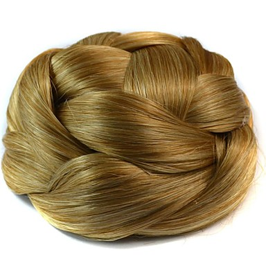 Blonde Kinky Curly Hair Bun Updo Braided chignons Clip In Synthetic Hair Hair Piece Hair Extension