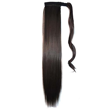 Tapes Tie Straight Hairpieces Synthetic Extensions (Natural Black)