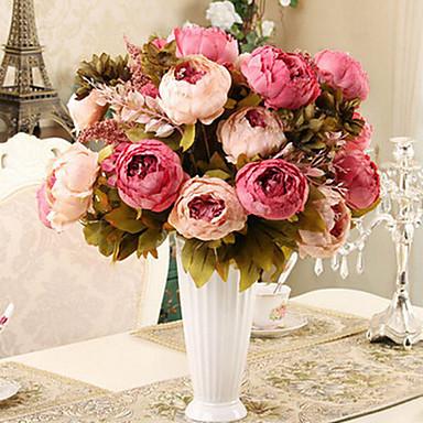 Künstliche Blumen 1 Ast Moderner Stil Pfingstrosen Tisch-Blumen