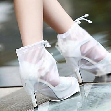 abordables Accessoires pour Chaussures-2pcs Gel Couvre-chaussures Femme Toutes les Saisons Décontracté Blanc