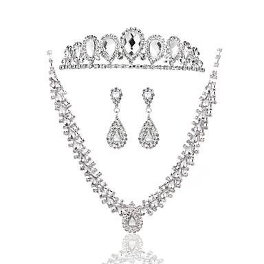 Dames Bergkristal Bruiloft Speciale gelegenheden  Verjaardag Verloving Legering Oorbellen Kettingen Tiara's