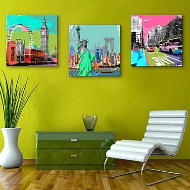E-home® tuval 3 avrupa dekorasyon boyama seti ünlü binalar sanat gergin