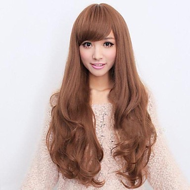 Synthetic Wig Curly Asymmetrical Haircut / With Bangs Synthetic Hair Natural Hairline Brown Wig Women's Long Capless