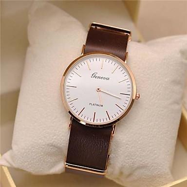 Geneva Herrn Quartz Armbanduhr Armbanduhren für den Alltag Leder Band Minimalistisch Schwarz Orange Braun