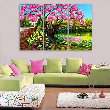 e-Home® opgespannen doek kunst tuindecoratie schilderij set van 3