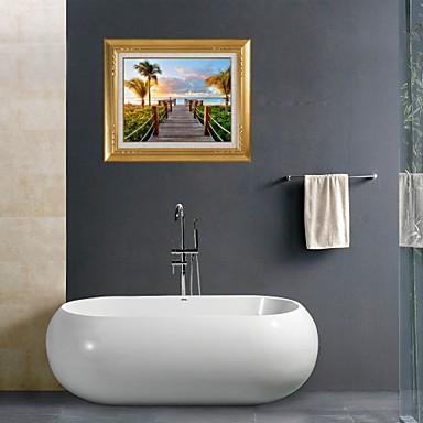 3D αυτοκόλλητα τοίχου αυτοκόλλητα τοίχου, παραθαλάσσιο μπάνιο διακόσμηση αυτοκόλλητα τοιχογραφία PVC τοίχο