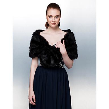 bont wraps bontomslag manier zwarte faux fur wrap