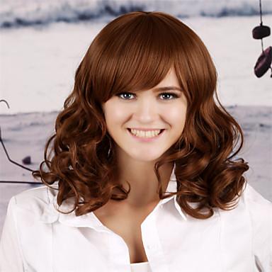 Yeni bizi ve avrupa kahverengi uzun kıvırcık saç peruk