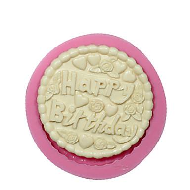 круглое счастливое помадные рождения силиконовые формы для украшения торта прессформы шоколада формы силиконовые торт инструменты дизайн