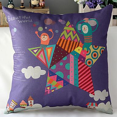 современный стиль фиолетовый игрушка кукла с рисунком хлопок / лен декоративная подушка крышка