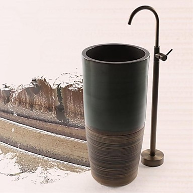 Badekarskran - Antikk Antikk Messing Gulvmontert Keramisk Ventil