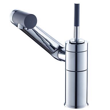 Moderní Baterie na střed Keramický ventil S jedním otvorem Single Handle jeden otvor for  Pochromovaný , Koupelna Umyvadlová baterie