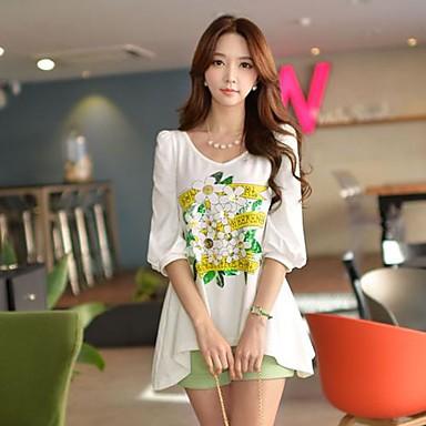 Normaal - Medium - Informeel/Opdruk/Schattig - T-shirt (Spandex/Polyester)met ¾ Mouw
