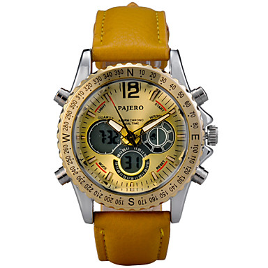 Men's Quartz Wrist Watch Sport Watch Alarm Calendar / date / day Chronograph Water Resistant / Water Proof LED Dual Time Zones LCD Leather