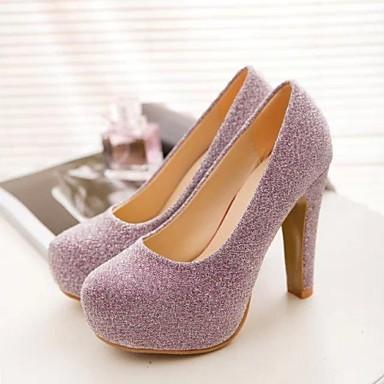 Черный / Розовый / Серебристый - Женская обувь - Для праздника - Дерматин - На толстом каблуке - На каблуках / С круглым носком -Обувь на