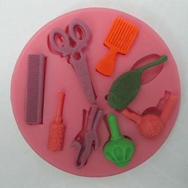 saks hår verktøy formet fondant kake sjokolade silikon mold, cupcake dekorasjon verktøy, l8.2cm * w8.2cm * h0.9cm