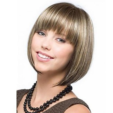 Women Synthetic Wig Short Light Blonde Bob Haircut With Bangs Costume Wigs Costume Wigs
