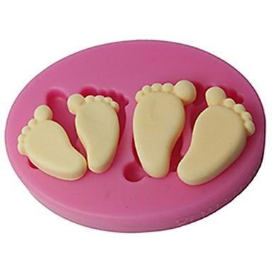 Négy-c szilikon domborító penész baba lába fondant és íny paszta penész színe rózsaszín sm-419