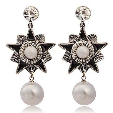 Boucles d'oreille goujon Boucles d'oreille goutte Perle Imitation de perle Alliage Style Punk Mode Forme d'Etoile Argent Bijoux 2pcs