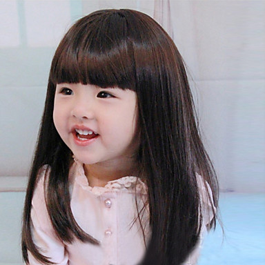 Enfants Femme Perruque Synthétique Mi Longue Noir Avec Frange Perruque pour enfants Perruque Halloween Perruque de carnaval Perruque