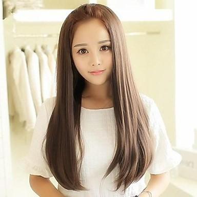 Syntetiske parykker Dame Rett Brun Asymmetrisk frisyre Syntetisk hår 25 tommers Varmeresistant Brun Parykk Lang Lokkløs Aske Brun