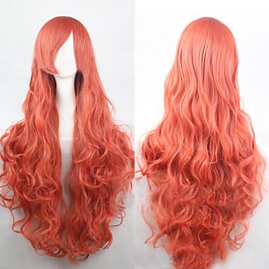 Syntetiske parykker Krøllet / Løse bølger / Naturlige bølger Blond Asymmetrisk frisyre Syntetisk hår 25 tommers Naturlig hårlinje Blond Parykk Dame Lang Lokkløs Mørk Rosa