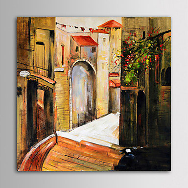 IARTS Oil Painting Modern Landscape European Construction Hand Painted Canvas with Stretched Frame