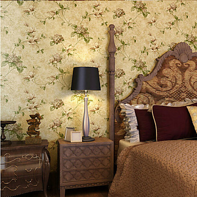 papier peint de style campagnard am rique vintage floral de fleur de mur jaune recouvrant l 39 art. Black Bedroom Furniture Sets. Home Design Ideas