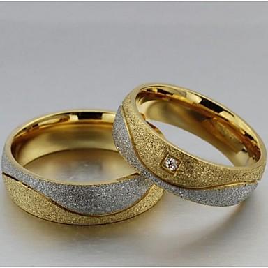 billige Motering-Dame Parringer Statement Ring Groove Rings Syntetisk Diamant 2pcs Gull / Hvit Titanium Stål Fuskediamant Sirkelformet damer Bryllup Fest Smykker Kjærlighed
