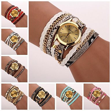 cheap Women's Watches-Women's Bracelet Watch Wrap Bracelet Watch Quartz Wrap Quilted PU Leather Black / White / Blue Analog Ladies Casual Fashion - Red Pink Light Blue One Year Battery Life / Tianqiu 377