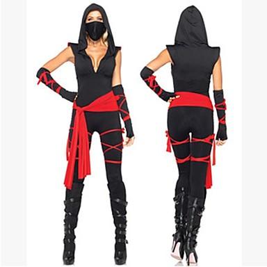Ninja Zentai-Pakken Film cosplay Zwart Verband Top Broeken Riem Masker Halloween Nieuwjaar Spandex Katoen