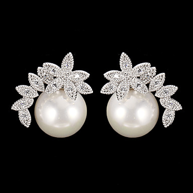 Pentru femei Cercei Picătură Perle Zirconiu Cubic cercei Modă Bijuterii Argintiu Pentru Zilnic 1 buc